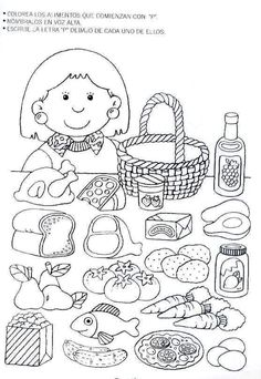 food - ESL worksheet by soledad_grosso Teaching Spanish, Teaching English, English Activities, Activities For Kids, Coloring Books, Coloring Pages, Kindergarten, School Items, Speech Language Therapy