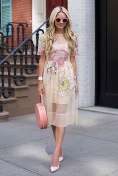 8.16 florals // west village (ASOS Salon embroidered floral mesh midi dress + Dee Keller heels + Mansur Gavriel circle leather tote in antique rose + Illesteva sunnies)