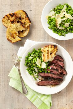 Grilled Cumin-Rubbed Hanger Steak with Smashed Minty Peas and Grilled Bread