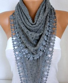 Gray Knitted Lace Scarf Shawl Cowl Oversized by fatwoman on Etsy