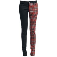 Dressation Womens Steampunk Style Stretch Plaid Skinny Jeans at Amazon... (2,000 PHP) ❤ liked on Polyvore featuring jeans, skinny fit jeans, plaid jeans, skinny jeans, stretchy jeans and stretch jeans