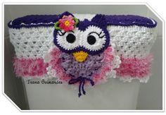 Crochetaria Ivana Guimarães : Capa caixa acoplada coruja