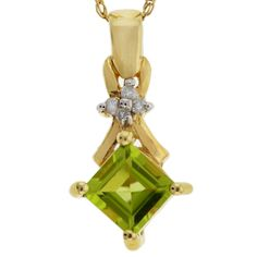 Yellow Gold 417 Rhomb Green Peridot and Four Diamonds Pendant with Necklace