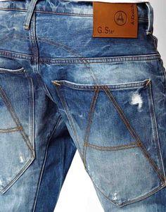 G STAR DENIM DETAIL - Google'da Ara Raw Denim, Denim Jeans, Fashion Men, Denim Fashion, Gstar, Bastilla, Leather Label, Denim Branding, Denim Style