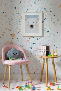 On the lookout for playful wallpaper designs? This speckle wallpaper design combines bright colours with joyful paint splatters. Perfect for kid's rooms and playroom spaces. The post Peach and Green Speckle Wallpaper Playroom Mural, Wall Murals, Room Color Schemes, Room Colors, Wall Colours, Paint Colors, Kids Room Wallpaper, Bedroom Wallpaper, Children Wallpaper