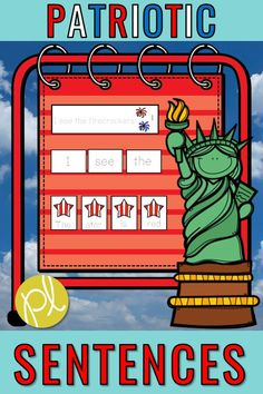 Use this center to celebrate Veteran's Day, Memorial Day...or all year long! There are visual models, sentence builders, sentence unscramble sets, and writing paper! Create several centers to support your early writers in the kindergarten or first grade classroom. #patrioticwriting #patrioticcenters