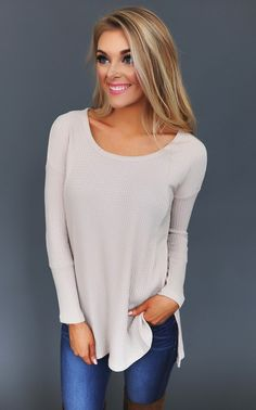 Oatmeal Mixed Knit Top - Dottie Couture Boutique