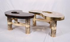 Coffee Table Beann, Etched Brass and Fractal Resin, Designed by Arriau 9
