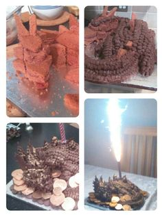 Dragon cake, my sculpture cake with choc buttercream and gold edible glitter spray om nom nom Edible Glitter, Cool Birthday Cakes, Nom Nom, Dragon, Sculpture, Cookies, Chocolate, Baking, Breakfast
