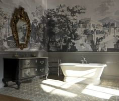 Krudy Luxury Apartment Budapest - the free standing bathtub and the pretty sink in the corner of the bedroom... it is gorgeous!