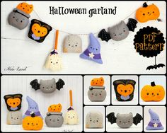 PDF Pattern. Halloween garland. Owl, cauldron, broom, tomstone, witch hat, bat and pumpkin felties.