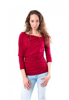 Asymmetrical drape top, fall fashion,  dressign.com Hippie Bohemian, Bohemian Style, Indie, Dark Red, High Fashion, Autumn Fashion, Sweatshirt, Leather Jacket, Clothes For Women