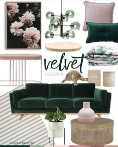 Trend: Velvet Garden Adore Home Magazine Living Room Decor Adore Garden Home Magazine Trend Velvet Living Room Green, Home Living Room, Living Room Designs, Living Room Decor, Bedroom Decor, Design Jobs, Home Design, Salon Design, Green Sofa