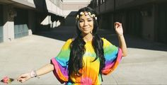 Jhene Aiko in Spotless MInd music video || Must find this rainbow tie-dye dress ||