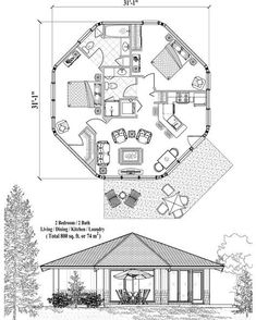 Online House Plan: 800 sq. ft., 2 Bedrooms, 2 Baths, Patio Collection (PT-0323) by Topsider Homes.
