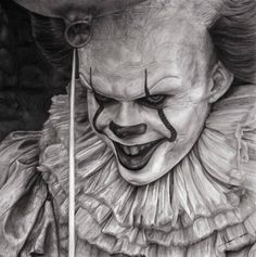 This is another commission i made of Pennywise from IT i hope you like it! Graphite pencils on paper, 18 x 18 inch Timelapse: Pennywise Commission Arte Alien, Alien Art, Halloween Illustration, Halloween Drawings, Scary Drawings, Pennywise Tattoo, Horror Drawing, Scary Tattoos, Drawing Exercises