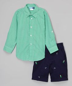 This Green Gingham Button-Up & Golf Shorts - Infant, Toddler & Boys by Good Lad is perfect! #zulilyfinds