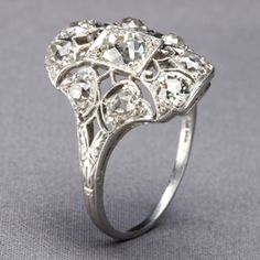 Belle Époque diamond-and platinum ring. Repinned by one of WorthPoint's favorite pinners!
