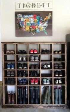 Diy Shoe Rack, Shoe Rack With Shelf, Shoe Racks, Garage Shoe Rack, Shoe Rack For Porch, Shoe Rack For Boots, Garage Shoe Shelves, Shoe Shelf Diy, Rustic Shoe Rack