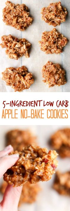 5-Ingredient Low Carb Apple No-Bake Cookies - a healthy dessert recipe that's keto, paleo, gluten-free, and healthy!