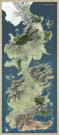 Map of Westeros, from George R. Martin's epic fantasy series 'A Song of Ice and Fire' (and the HBO-show 'Game of Thrones'). Westeros Map, Valar Morghulis, Fantasy Map, Fantasy World, Fantasy Series, Game Of Thrones Map, Fire And Ice, Winter Is Coming, Wedding Ring