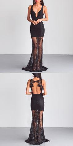 Lace Prom Dress, Open-Back Prom Dress, Sleeveless Prom Dress, Floor-Length Party Dresses, LB0805 #promdress