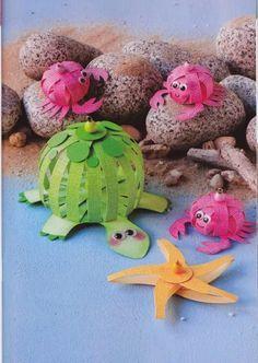 * * *La boite à idées de l' atelier 3B* * *: DIY Paper balls Paper Crafts For Kids, Diy Paper, Diy And Crafts, Arts And Crafts, Drawing For Kids, Art For Kids, Blog Da Tia Ale, Paper Balls, Ocean Crafts