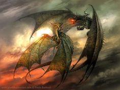 Guest of Honor: Paolo Barbieri - Lucca Comics & Games 2011 Fantasy Dragon, Dragon Art, Fantasy World, Fantasy Art, Chromatic Dragon, Sea Serpent, Cool Dragons, Fanart, Game Of Thrones Art