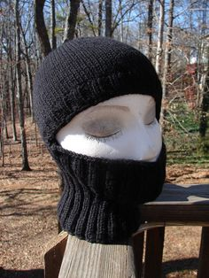 Knit Helmet Liner ski mask bacalava 100 wool Black by caeppli, $24.00