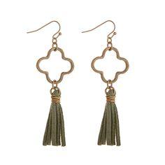 Wholesale worn gold quatrefoil linked mint green tassel earrings