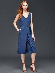 Tencel&#174 linen culotte jumpsuit Product Image