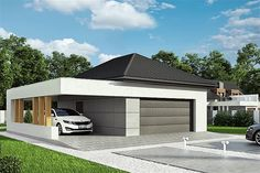 Projekt HomeKoncept-G 02 Home Fashion, Garage Doors, Shed, Outdoor Structures, House Styles, Outdoor Decor, Projects, Houses, Home Decor