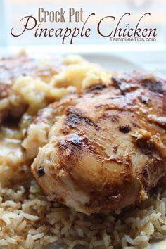 Crock Pot Pineapple Chicken6 boneless chicken breasts 1 tbsp oil 14 1/2 oz can chicken broth 20 oz can pineapple chunks 1/4 cup vinegar 2 tbsp brown sugar 2 tsp soy sauce 1 garlic clove, minced 3 tbsp cornstarch 1/4 cup water Directions 1. Brown chicken in oil, transfer to crock pot 2. Combine remaining ingredients and pour over chicken 3. Cover and cook on high for 4-6 hours 4. Serve over rice