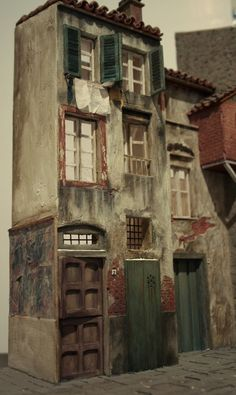 Concha G. An extra-ordinary doll's house Miniature Rooms, Miniature Houses, Modelos 3d, Ceramic Houses, Tiny World, Fairy Houses, Stop Motion, Little Houses, Model Trains