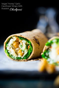 """Honey"" Garlic Roasted Chickpeas Wrap with Cauliflower Rice"
