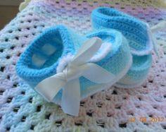 Синий вязание крючком пинетки