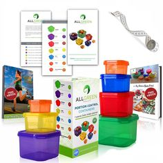 One Day Sale - 7 Piece Portion Control Containers Colored Set Meal Prep Kit for Weight Loss + Recipe E-Book + Healthy Lifestyle E-Book + Professional User Guide + Measuring Tape by All-Green Products