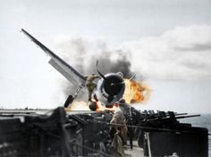 In 1943, during the Second World War, a F6F-3 Hellcat crash-landed on the deck of the USS Enterprise aircraft carrier while doing battle in the Pacific Ocean.