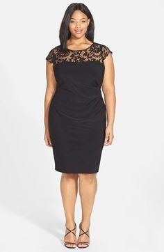 f89869dccac Adrianna Papell Lace Yoke Side Pleat Sheath Dress (Plus Size) available at   Nordstrom