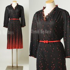 Vintage 70s Dress Black Red Ombre Ruffle Secretary Dress by TrendyHipBuysVintage, $39.00