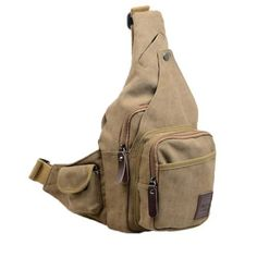 Generic Vintage Mens Canvas Backpack Bicycle Bag Womens Shoulder Sling Chest (Khaki):Amazon:Beauty
