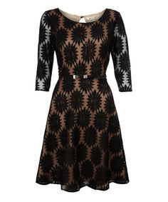 Take a look at this Yumi: Black Flower Lace 3/4 Sleeve Dress with Waistbelt by Yumi on #zulily today!