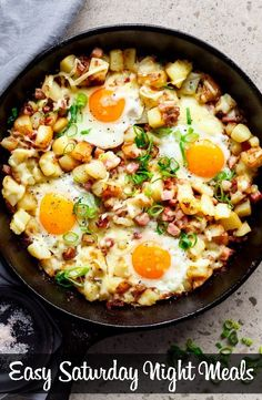 Cheesy bacon and egg hash for breakfast, brunch, lunch or dinner! easy to make and ready in 30 minutes! Cheesy Bacon and Egg Hash… No. Breakfast And Brunch, Breakfast Dishes, Breakfast Recipes, Breakfast Skillet, Breakfast Ideas, Power Breakfast, Breakfast Burritos, Breakfast Casserole, Egg Skillet