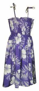 Hibiscus Passion Hawaiian Print Tube Top Dress in Purple