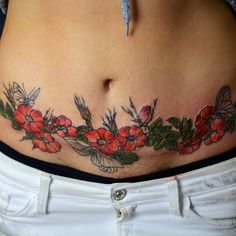 Image interface for tummy tuck tattoos - - Cosmetic Surgery - Tattoo-Ideen Waist Tattoos, Belly Tattoos, Stomach Tattoos, Hot Tattoos, Body Art Tattoos, Tatoos, Tummy Tuck Scar Tattoo, Tattoo Over Scar, Tummy Tuck Scars