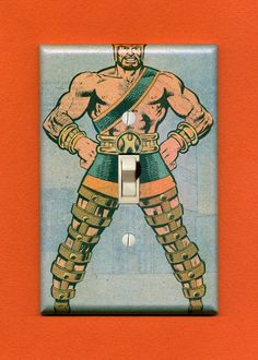 Hercules stands proud! Quality-made vintage comic book switch plate. $12.95.