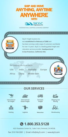 International #Shipping and Moving Infographic. Sky2c Freight System is your one-stop global shipping company, offering specialized services in #International and Domestic Shipping, Warehousing, Freight Forwarding, FTL and LTL Trucking, Door-2-Door Delivery, Pickup Services and many more.