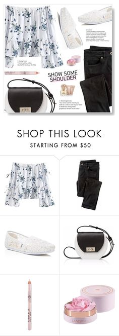 """""""Off Shoulders"""" by misukaha on Polyvore featuring Wrap, TOMS, Joanna Maxham, Lancôme and Vince Camuto"""
