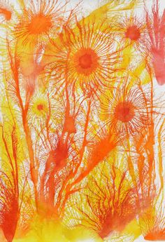 Exploflora Series No. Saatchi Art, Original Paintings, My Arts, Orange, Yellow, Canvas, Artworks, Colors, Tela