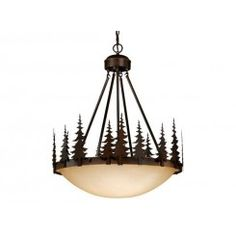 Rustic four light pendant finished in a Burnished Bronze Finish. Large Amber Flake Glass bowl at center surrounded by detailed iron work, cabin lighting. Cabin Lighting, Rustic Lighting, Interior Lighting, Outdoor Lighting, White String Lights, Ranch Decor, Chandelier Pendant Lights, Chandeliers, Linear Chandelier